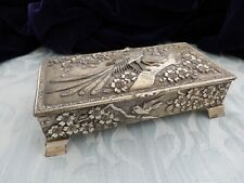 """Vintage Cast """"White"""" metal table casket / jewelry box, possibly Japanese/China?"""