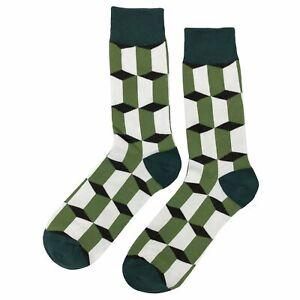 NWT Green Intrigue Dress Socks Novelty Men 8-12 Green and White Fun Sockfly