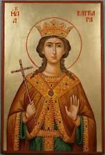 St Saint Barbara Hand-Painted Byzantine Orthodox Icon on Wood