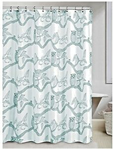 new~Cream Teal Blue Fabric~SHOWER CURTAIN  OWL print Owls on branch Birds Fruit
