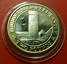 SCARCE IOM Manx £2 Round Tower of Peel Castle 2016 UNC in Prot Caps #6