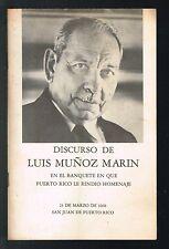 Panfleto Discurso De Luis Munoz Marin Banquete Homenaje 1968 Puerto Rico