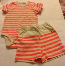 GAP Baby Girl 6-12 M Brannan's Favorites Pink Cream Striped One Top Shorts NWT