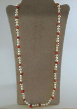 """*HOT* 32"""" WHITE FRESH WATER PEARL & CORAL NECKLACE"""