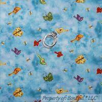 BonEful Fabric FQ Cotton Quilt Blue Sky Cloud Bird Bee Butterfly Flower Little S