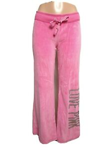 "Pink Victoria's Secret Women MEDIUM Fleece pants Inseam 32"" drawstring(#p1"