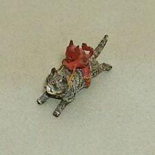 Antique miniature cold painted bronze devil riding cat