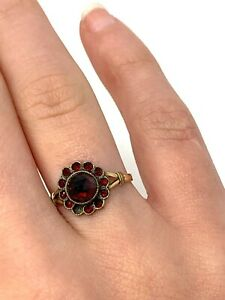 Amazing Antique Victorian Rolled Gold Bohemian Garnet Cluster Ring Size K #1453