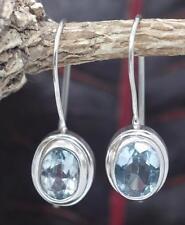 Handmade Sterling Silver .925 Bali Oval Dangle Earring w Blue Topaz Gem and hook