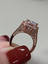 Victoria Wieck Cushion Cut 10CT Topaz 925 Sterling Silver Rose gold plate Sz 7