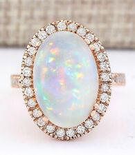 7.92 Carat Natural Opal 14K Rose Gold Diamond Ring