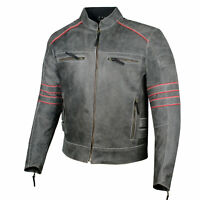 Men's Brotherhood Classic Leather Motorcycle Distress CE Armor Biker Jacket