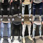 Men's Ripped Skinny Biker Jeans Pants Destroyed Frayed Slim Fit Denim Trousers