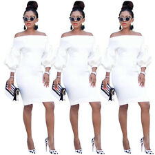 Women Boat Neck  Puff Sleeves White Casual Club Party Bodycon Mini Dress