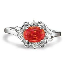AVON 925 Sterling Silver Simulated Red Fire Orange Opal Ring CZ Accent Size 8