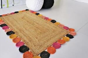 3x5 feet square indien braided floor rug handmade jute area rug home decor rugs