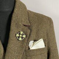 VINTAGE Scottish Celtic Cross Brooch Lapel Pin Manpin Sash Shield Green Agate?