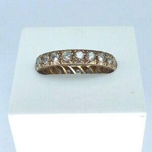 Vintage 9ct yellow gold Spinel eternity ring. Size N.