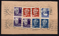 East Germany 8 Stamps c1950 Fine Used on Piece (336)