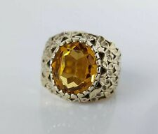 Fine Beautiful 22ct Gold On Sterling Silver & Citrine Paste Ring UK Size K