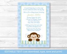 Baby Boy Monkey Blue Jungle Safari Printable Baby Shower Invitation Editable PDF
