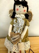 "Primitive Angel Doll Shelf Sitter~Heart Shaped Wings~Heart~16"" L"