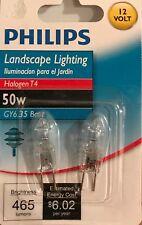 2 Philips Landscape 50-Watt T4 Bi-Pin Halogen Light Bulbs - 12V / GY6.35 - NEW