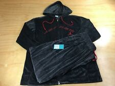 Nike Air Jordan Velour Tracksuit Black Red 2 Piece Zip Up Jacket Sz L Pants L