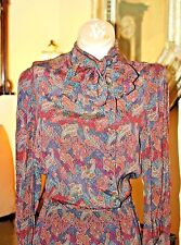 VINTAGE DESIGNER JERRY SILVERMAN PAISLEY DRESS ( 1960'S ) ATTACHED SCARF