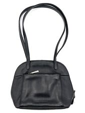 Stone Mountain Classic Black Medium Sized Pebbly Leather Handbag Purse Shoulder