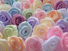 100! Large Satin Ribbon Roses - 20mm - Pastel Colour Mix Rose Embellishments!