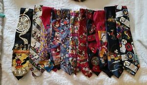 11 Mens Novelty Tie Lot MICKEY MOUSE  Neckties sports work fishing