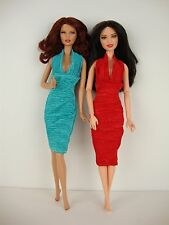 Set of 2 Stylish Little Party Dresses in Red and Teal Made to Fit Barbie Doll