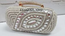 Creamy/Ivory~Handmade~Bridal Evening Pearl Clutch Bag☆Free shipping To UK☆T-22
