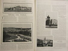 1902 PRINT ~ ROUND THE WORLD WIESBADEN HOTEL IN COLOGNE CATHEDRAL GARDENS