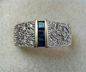 14k Yellow Gold Diamond & Channel Set Sapphire Band Ring, Size 8.75