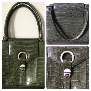 Debenhams moc croc khaki green handbag immaculate