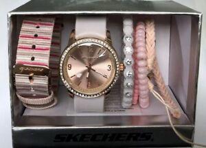 NIB SKECHERS Women's Rose Gold Wristwatch Pink silicon Band & Bracelet Set.
