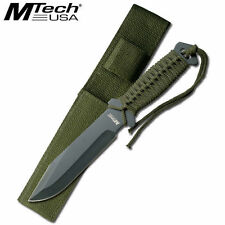 "MT-528C 10.5"" Combat Fixed Drop Point Blade Knife w/ Sheath Cord Wrap Handle OD"