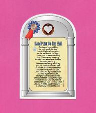"""Hand Print On The Wall"" - Poem - Verse Card w/ Heart Penny - sku# 832"
