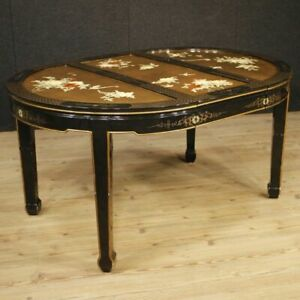 Table French Furniture Wood Lacquered Painting Golden Chinoiserie Style Old 900