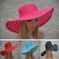 Wholesale ! Womens Church Kentucky Derby Wide Brim Stripe Wedding Sun Hat A269