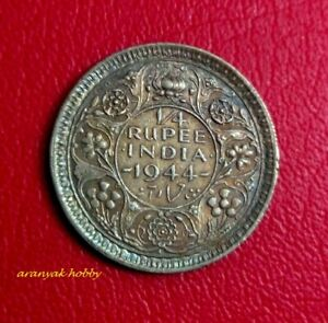 British India 1/4 rupee coin of 1944 King George VI LAHORE MINT coin