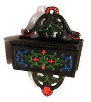 "Wilton 6"" x 4""  wall mount black cast iron wood wooden match stick holder Dutch"