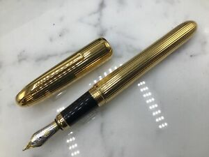 Louis Cartier Godron Pinstripe Gold-Plated Fountain Pen 18k Pinstripe XL Size