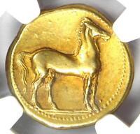 Zeugitana Carthage Gold EL Stater Tanit, Horse Coin 320-270 BC - NGC Choice VF