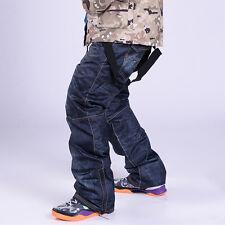 Winter Sports Men's Denim Waterproof Ski Snow Pants Outdoor Windproof Trousers N