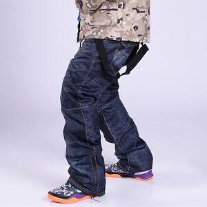 HOT Winter Men's Denim Waterproof Ski Pants Outdoor Snowboard Windproof Trousers