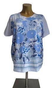 NEU Übergröße schickes Damen Kurzarm Stretch Shirt in weiß blau Gr.52,54