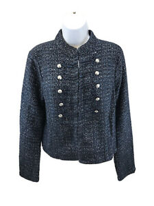 White House Black Market Women's Blue Tweed Military Sweater Jacket Sz M